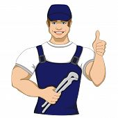 foto of handyman  - Cartoon plumber holding a monkey wrench - JPG