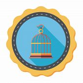 foto of caged  - Pet Bird Cage Flat Icon With Long Shadow - JPG