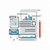 picture of stock market data  - Thin line icon with flat design element of stock market data calculation of tax due statistics analyze business accounting report on office documents - JPG