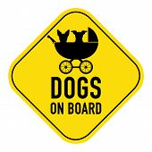 Постер, плакат: Dogs On Board Sign