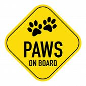 stock photo of paw  - paws silhouette illustration on yellow placard signshowing the words paws on board isolated on white background - JPG