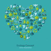 foto of save water  - Ecology flat icons arranged in heart - JPG