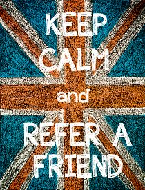foto of union  - Keep Calm and Refer a Friend. United Kingdom (British Union jack) flag vintage hand drawing with chalk on blackboard humor concept image - JPG