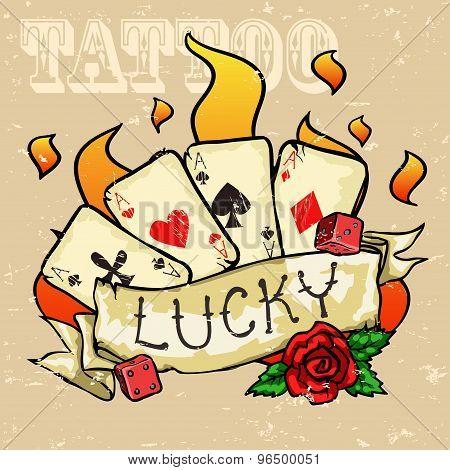 Poker Cards Tattoo Design