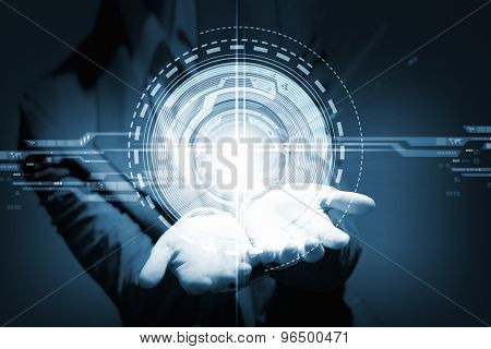Businesswoman with media player button in palm