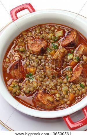 lentil and chorizo soup, spanish cuisine, lentejas con chorizo