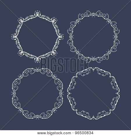 Set Of 4 Decorative Round Vector Frames On A Dark Blue Background