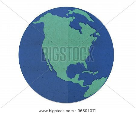 Earth Map, Paper Cut And Paste.