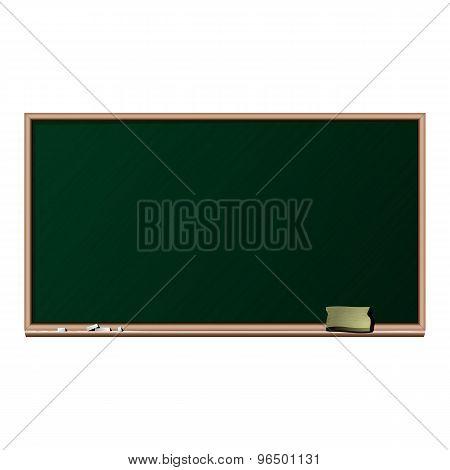 Blackboard, chalk and sponge - isolated vector illustration