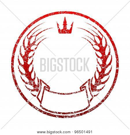 Red Grunge Rubber Stamp Template With Spikelets Of Wheat, Crown, Ribbon Banner And An Empty Space Fo