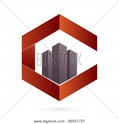 Real Estate Icon And C Letter Hexagon Icon.