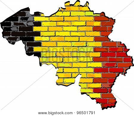 Belgium Map On A Brick Wall