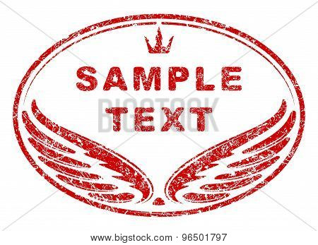 Red Oval Grunge Rubber Stamp Template With Wings And Crown An Space For Your Text.