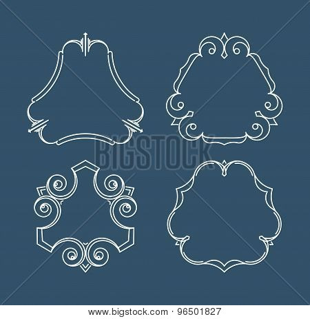 Set Of Simple And Graceful Monogram Design Templates. Elegant Lineart Logo Design Elements. Vector I