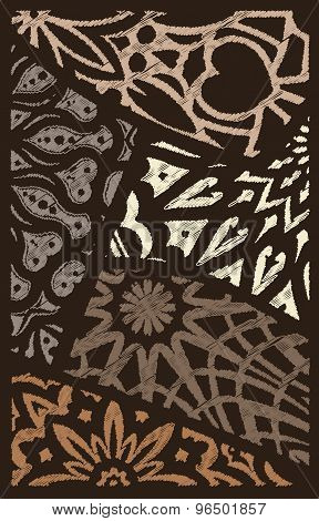 Decor From Pieces Of Colored Lace Decorative Elements - Mandala In Touch Stroke Style Like Embroider