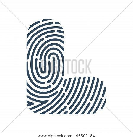 L Letter Line Logo. Vector Fingerprint Design.