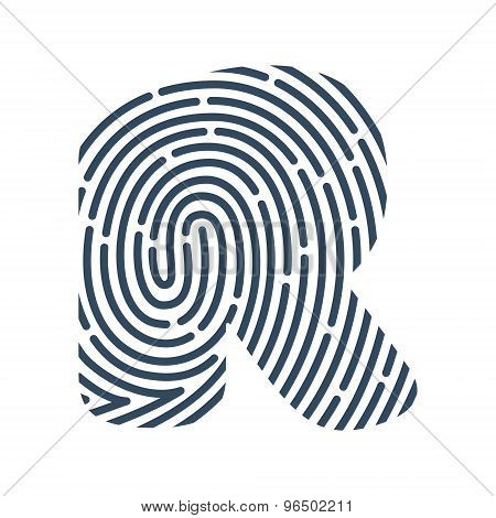 R Letter Line Logo. Vector Fingerprint Design.