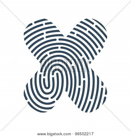 X Letter Line Logo. Vector Fingerprint Design.