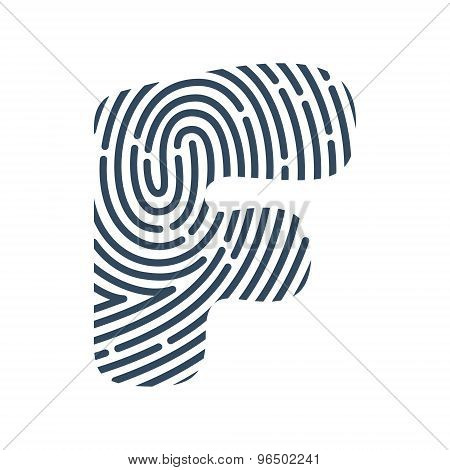 F Letter Line Logo. Vector Fingerprint Design.