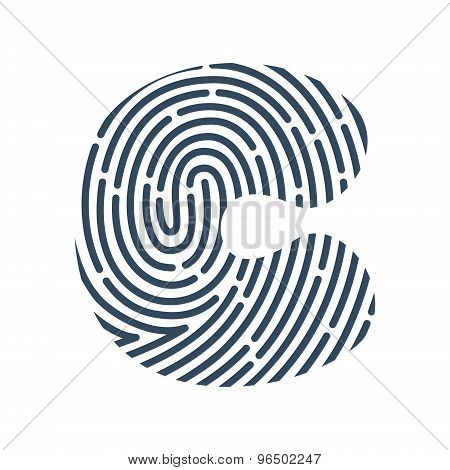 C Letter Line Logo. Vector Fingerprint Design.