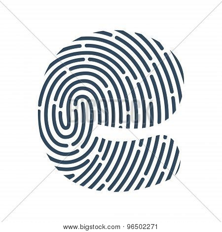 E Letter Line Logo. Vector Fingerprint Design.