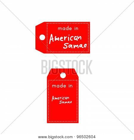 Red Price Tag Or Label With White Word Made In American Samao Isolated On White Background