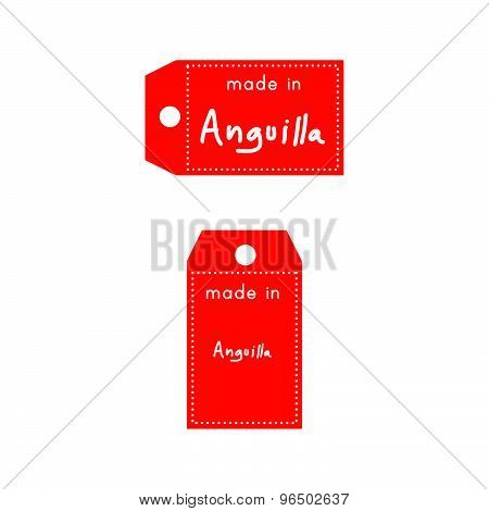 Red Price Tag Or Label With White Word Made In Anguilla Isolated On White Background
