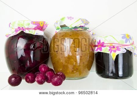 Group of homemade preserves canned goods