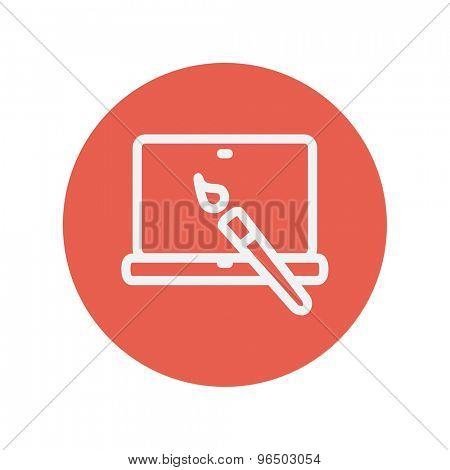 Laptop and pen an editors tools thin line icon for web and mobile minimalistic flat design. Vector white icon inside the red circle.
