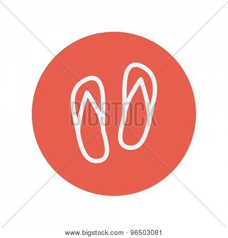 Beach slippers thin line icon for web and mobile minimalistic flat design. Vector white icon inside the red circle