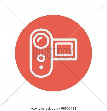 Digital video cam thin line icon for web and mobile minimalistic flat design. Vector white icon inside the red circle.