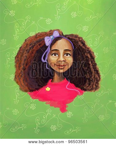 African girl portrait painting
