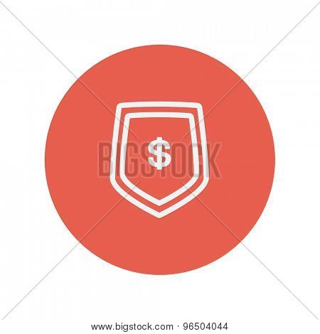 Jeans pocket with dollar symbol thin line icon for web and mobile minimalistic flat design. Vector white icon inside the red circle.