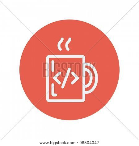 Mug with hot coffee thin line icon for web and mobile minimalistic flat design. Vector white icon inside the red circle.