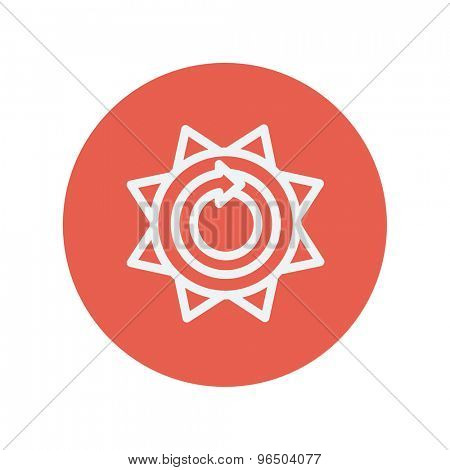 Sun with spiral arrow thin line icon for web and mobile minimalistic flat design. Vector white icon inside the red circle.
