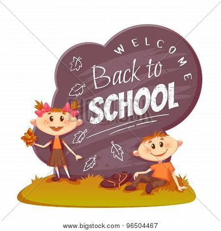 Back to school poster. Schoolboy and schoolgirl sitting on the grass near board. Vector illustration