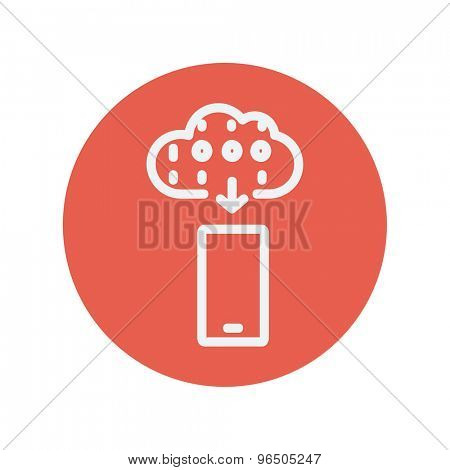 Mobile phone with weather forecast thin line icon for web and mobile minimalistic flat design. Vector white icon inside the red circle.