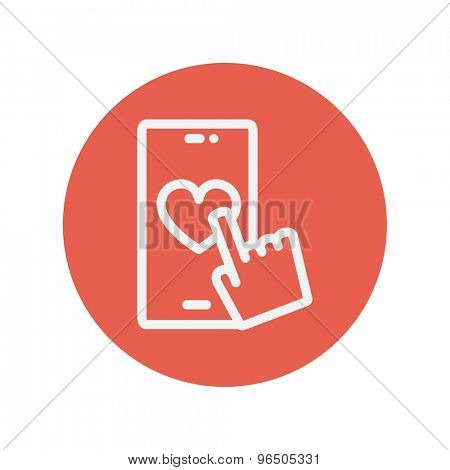 Cellphone with heart thin line icon for web and mobile minimalistic flat design. Vector white icon inside the red circle.