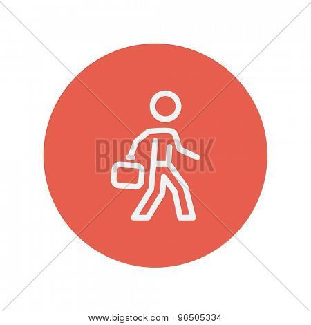 Man walking with briefcase thin line icon for web and mobile minimalistic flat design. Vector white icon inside the red circle.