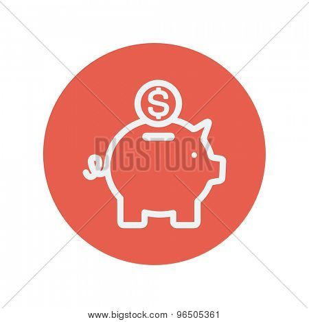 Piggy bank and dollar coin thin line icon for web and mobile minimalistic flat design. Vector white icon inside the red circle.