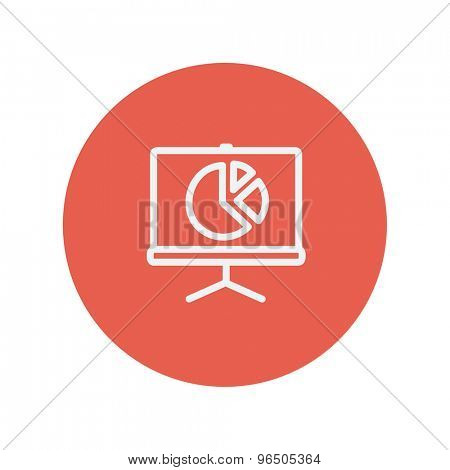 Roller screen with pie graph thin line icon for web and mobile minimalistic flat design. Vector white icon inside the red circle.
