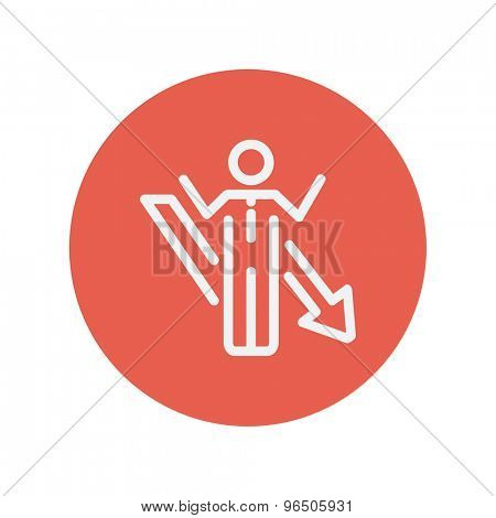 Man with arrow down thin line icon for web and mobile minimalistic flat design. Vector white icon inside the red circle.