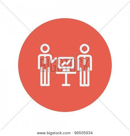Two men and their business report thin line icon for web and mobile minimalistic flat design. Vector white icon inside the red circle.