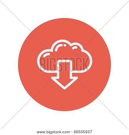Cloud with arrow down thin line icon for web and mobile minimalistic flat design. Vector white icon inside the red circle.