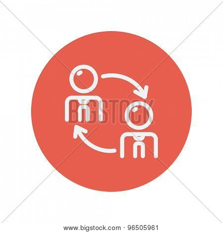 Two men in exchanging arrow thin line icon for web and mobile minimalistic flat design. Vector white icon inside the red circle.