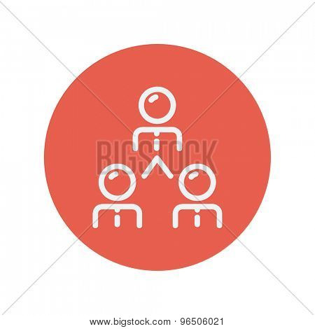 Business team thin line icon for web and mobile minimalistic flat design. Vector white icon inside the red circle.