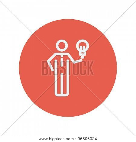 Man holding idea thin line icon for web and mobile minimalistic flat design. Vector white icon inside the red circle.