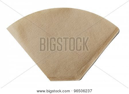 Coffee filter made of paper isolated on white with natural shadow.