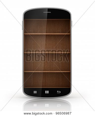 Wooden Book Shelf In Smartphone With Reflection Isolated On White