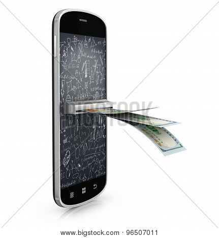 Mobile Paying Sistem Concept, Dollars In Smartphone Screen